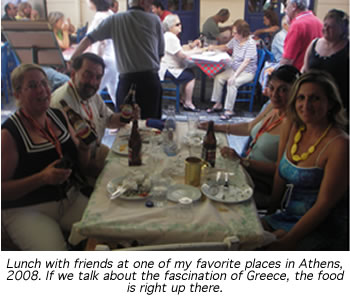The author, Veronica Pamoukaghlian, enjoying lunch with friend in Athens, 2008
